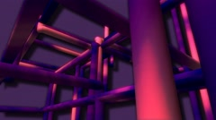 Neon network of pipes abstract motion background Stock Footage