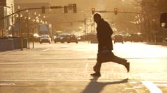 Downtown Salt Lake City crossing road Stock Footage