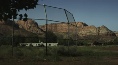 Desert Town Empty Baseball Field Stock Footage