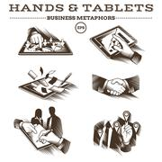 Hands and Tablets. Engraved Vector - stock illustration