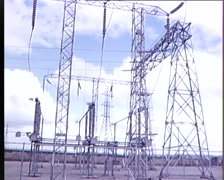(Archive Footage) High Voltage Powerlines 1970's - stock footage