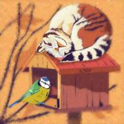 Cat and Bird Illustration Stock Illustration