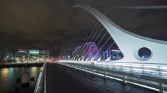 Dublin Samuel Beckett Bridge at Night with Traffic Stock Footage