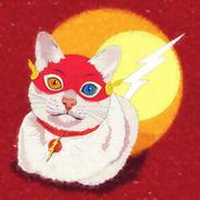 Cats superheroes. Flash - stock illustration