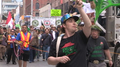 Protesters in Toronto for legalization of marijuana Stock Footage