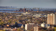 4K UltraHD A view over Hamilton, Ontario with Burlington Skyway in background Stock Footage