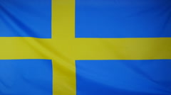 Slowmotion real textile Flag of Sweden Stock Footage