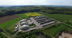 Flight over Solar and Biogas power plants from above. Stock Footage