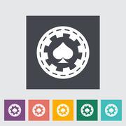 Gambling chips flat icon - stock illustration