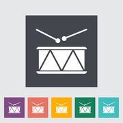 Drum vector flat icon - stock illustration