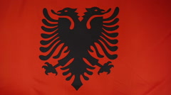 Slowmotion real textile Flag of Albania Stock Footage