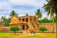 view at Hindu Temple dedicated to Shiva, ancient Gangaikonda Cholapuram Templ - stock photo