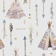 Watercolor boho seamless pattern with teepee, arrows, feathers Stock Illustration