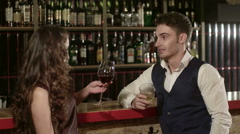 Young Beautiful Couple Spending Evening at the Bar - stock footage