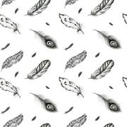 Vintage seamless  graphic pattern with hand-drawn feathers. Flyi Stock Illustration