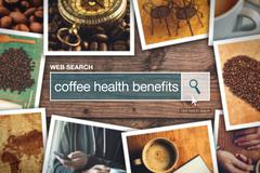 Web search bar glossary term - coffee health benefits Stock Photos