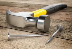 hardware tools, hammer - stock illustration