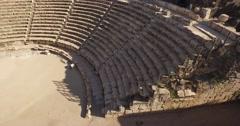 BEIT SHE'AN, ISRAEL (4K) - ancient Roman amphitheater aerial pan shot - stock footage