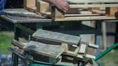 Joiner is cutting wood Stock Footage