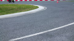 Motorcyclist driving in the safe driving center Stock Footage