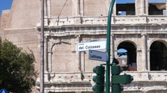 Colosseo square - Coliseum place road street pointer in Rome Italy - stock footage