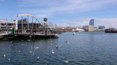 Winter view of Port Vell in Barcelona, Spain. Stock Footage