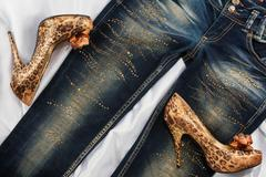 Glamorous women's fashion, leopard shoes, lying on jeans - stock photo