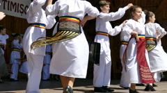 Children dancing a folk dance Stock Footage