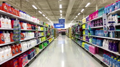 Blench and detergent product corridor in Superstore Stock Footage