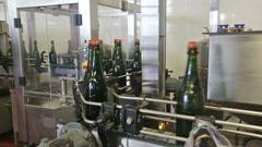 Sparkling wine  bottles on conveyor or water bottling machine Stock Footage
