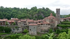 View of old catalan village. Stock Footage