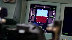 Aircraft building. View inside the cockpit of a passenger plane. - stock footage