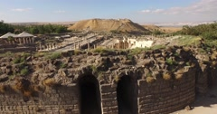 BEIT SHE'AN, ISRAEL (4K) - ascending aerial of ancient Roman city amphitheater - stock footage