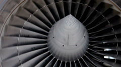 Aircraft building. Element of the turbine of passenger plane. Stock Footage