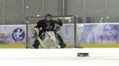 Hockey.Slashing the puck towards the net.Closeup. Stock Footage