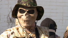 Soldiers in mask-skull. Stock Footage
