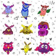 Owls set color Stock Illustration