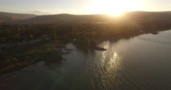 JORDAN RIVER, ISRAEL - 4K Aerial view above mouth of the SEA OF GALILEE Stock Footage