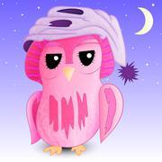 Sleepy owl in a cap Stock Illustration