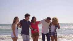 Multiracial group of young friends on the beach Stock Footage
