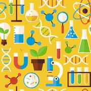 Flat Seamless Pattern Science and Research Objects over Yellow - stock illustration