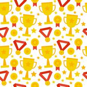 Flat Seamless Pattern Sport Competition Trophy Winning - stock illustration