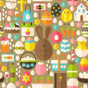 Happy Easter Holiday Vector Flat Light Brown Seamless Pattern - stock illustration