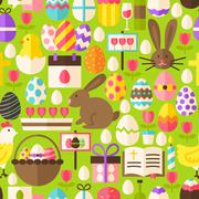 Happy Easter Vector Flat Design Green Seamless Pattern Stock Illustration