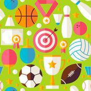 Sport Recreation Competition Vector Flat Design Green Seamless Pattern - stock illustration