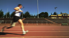Disabled Runner on track Stock Footage