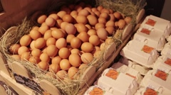 Chicken eggs in a basket Stock Footage