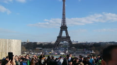 Veiw of Place de la Concorde with the Eiffel Tower on March 2016 in Paris. Stock Footage
