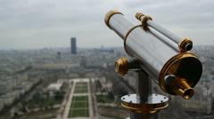 Sightseeing telescope on Eiffel Tower, Paris, France. Stock Footage