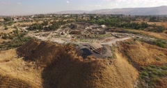 BEIT SHE'AN, ISRAEL (4K) - aerial shot over Upper Tel and Roman city Stock Footage